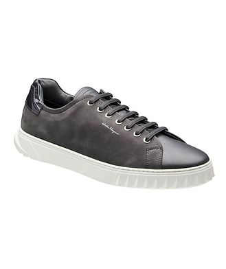 Salvatore Ferragamo Cube Leather and Suede Sneakers