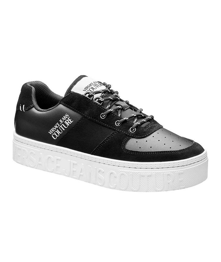 Leather and Suede Logo Sneakers image 0
