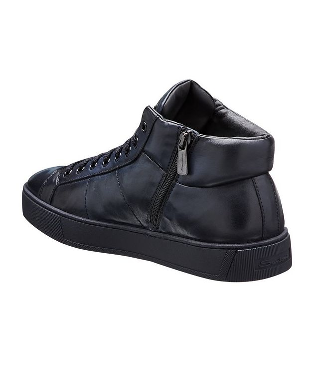 High-Top Leather Sneakers picture 2