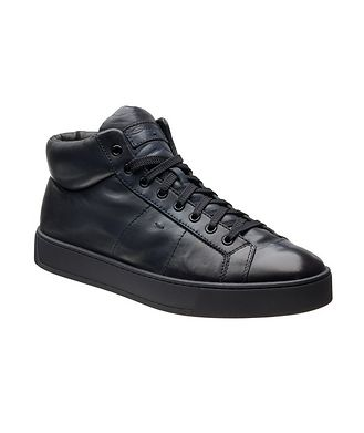 Santoni High-Top Leather Sneakers