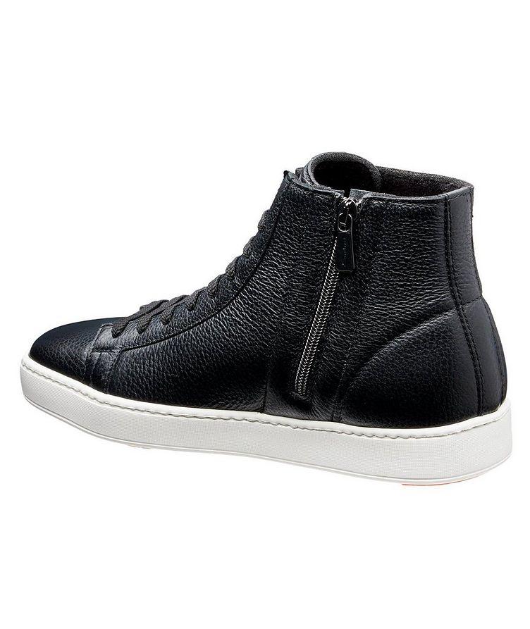 High-Top Tumbled Calfskin Sneakers image 1