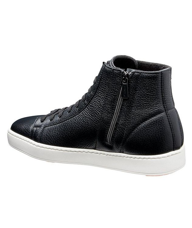 High-Top Tumbled Calfskin Sneakers picture 2