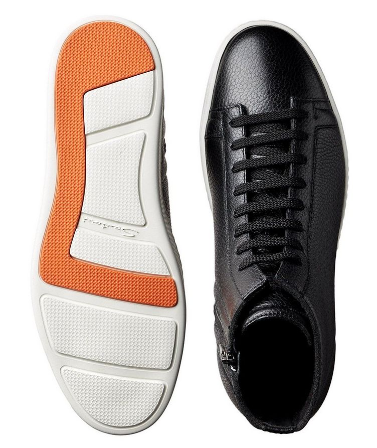 High-Top Tumbled Calfskin Sneakers image 2