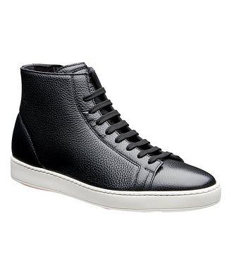 Santoni High-Top Tumbled Calfskin Sneakers