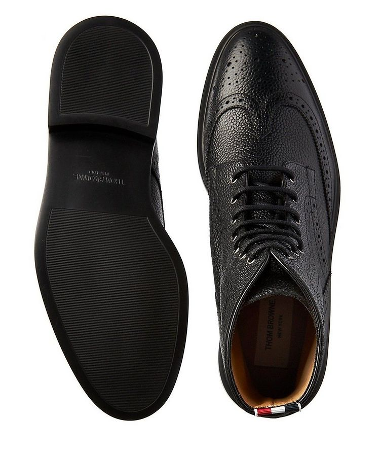 Wingtip Pebbled Leather Boots image 2