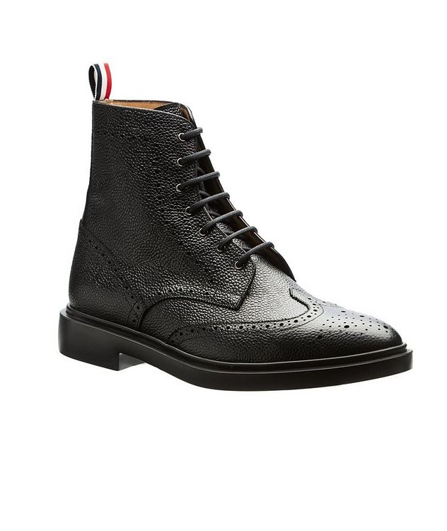 Wingtip Pebbled Leather Boots picture 1