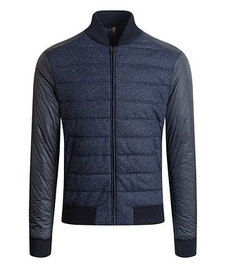 Bugatchi Speckled Wool-Silk Bomber Jacket