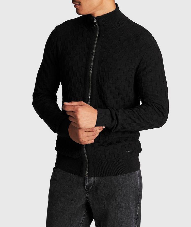 Zip-Up Basket-Weave Sweater image 1