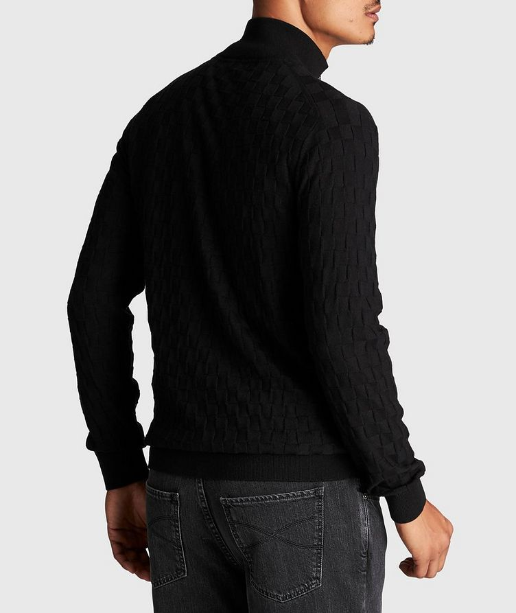 Zip-Up Basket-Weave Sweater image 2