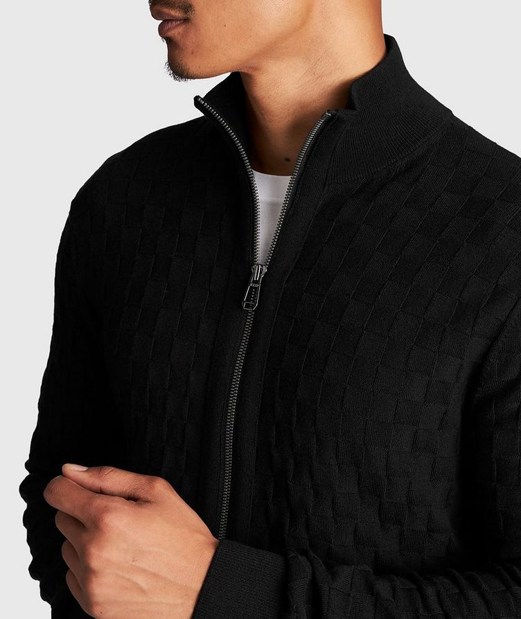 Zip-Up Basket-Weave Sweater image 3