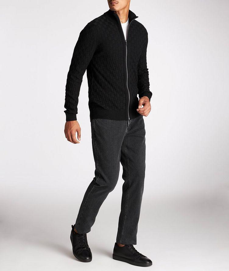 Zip-Up Basket-Weave Sweater image 4