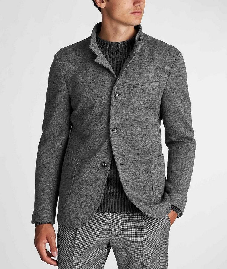 Slim Fit Virgin Wool-Blend Sweater Jacket image 1