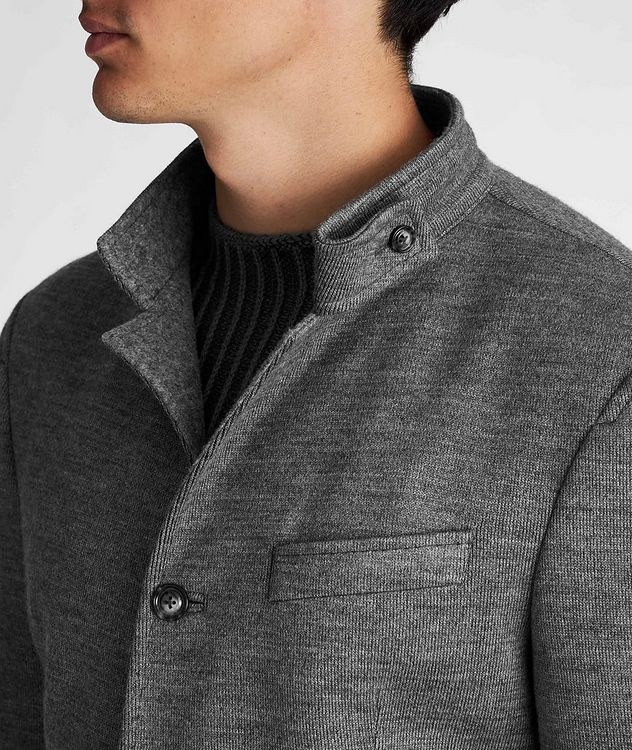 Slim Fit Virgin Wool-Blend Sweater Jacket picture 4