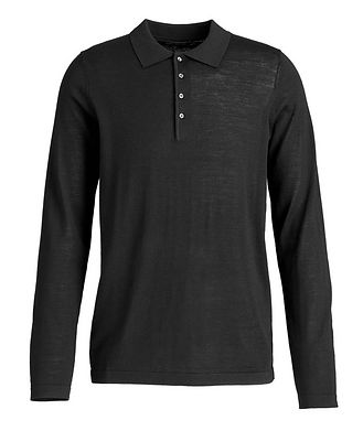 Patrick Assaraf Wool Long-Sleeve Polo