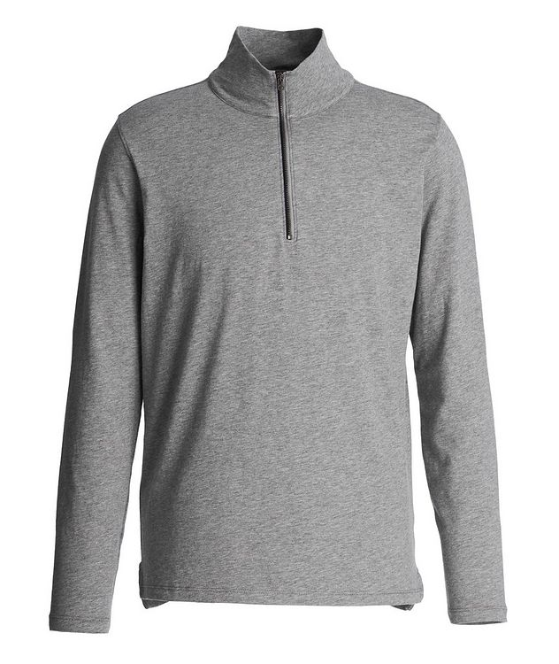 Half-Zip Stretch-Pima Cotton Sweater picture 1