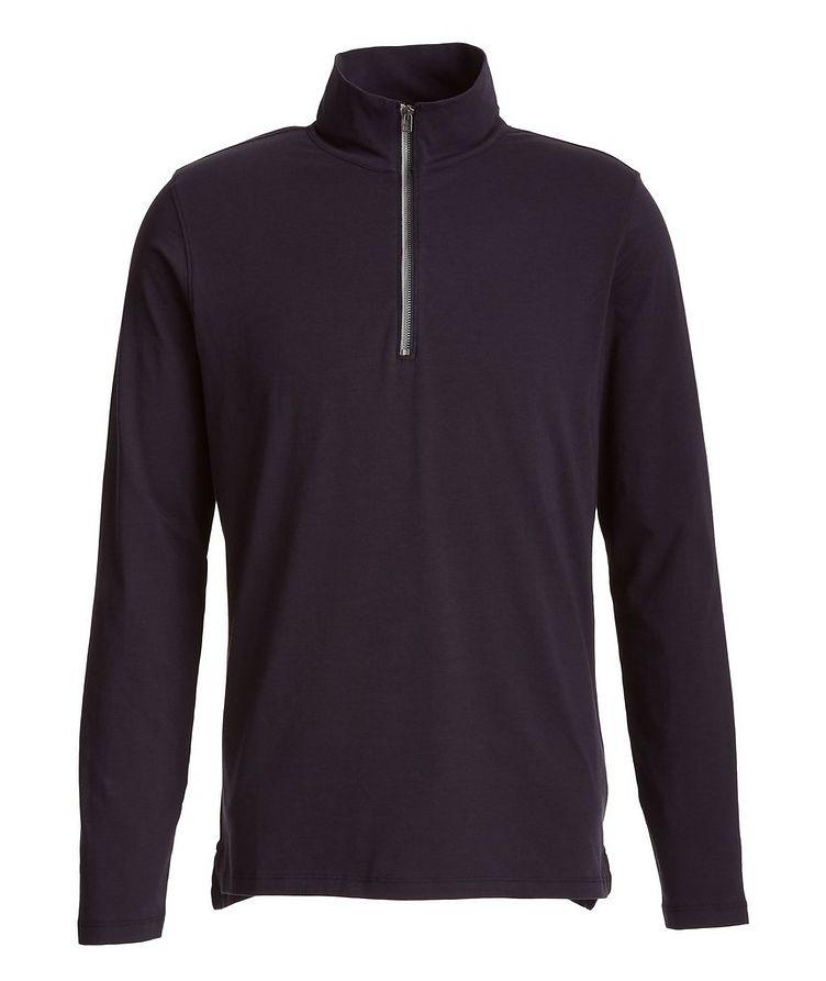 Half-Zip Stretch-Pima Cotton Sweater image 0