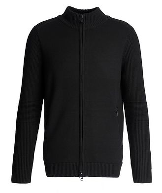 Patrick Assaraf Zip-Up Ribbed Wool Sweater