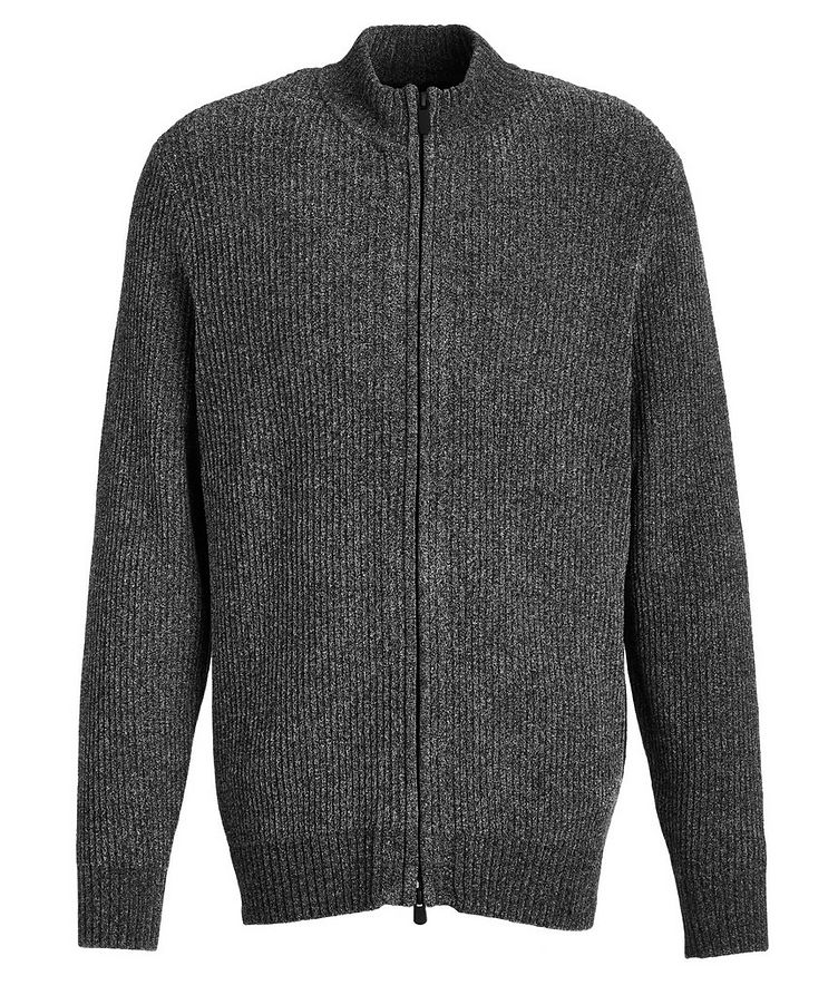Chenille Stretch Zip-Up Sweater image 0