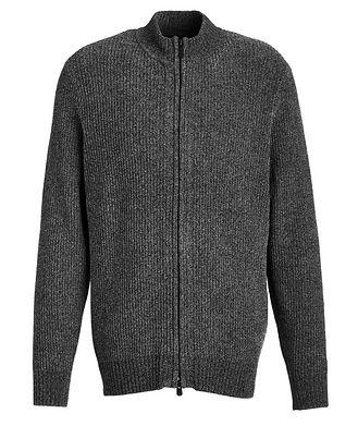 Patrick Assaraf Chenille Stretch Zip-Up Sweater