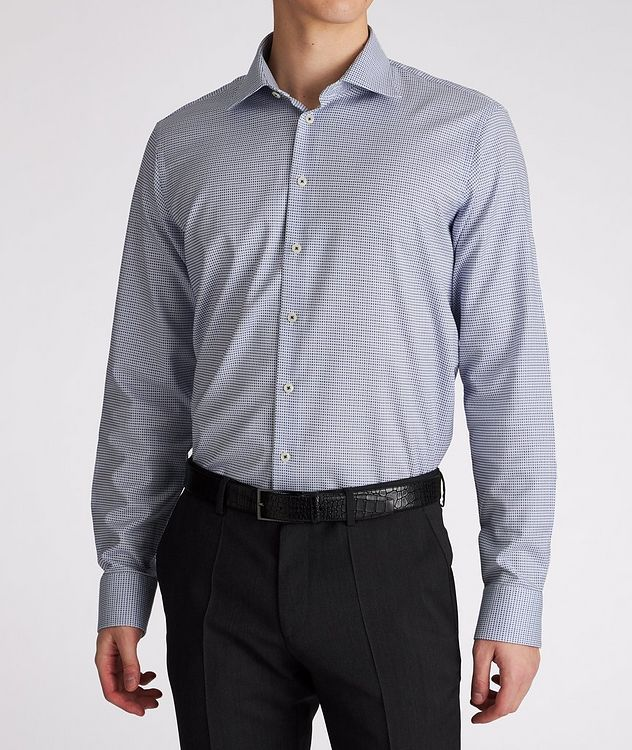 Contemporary-Fit Micro-Checked Cotton Dress Shirt picture 2