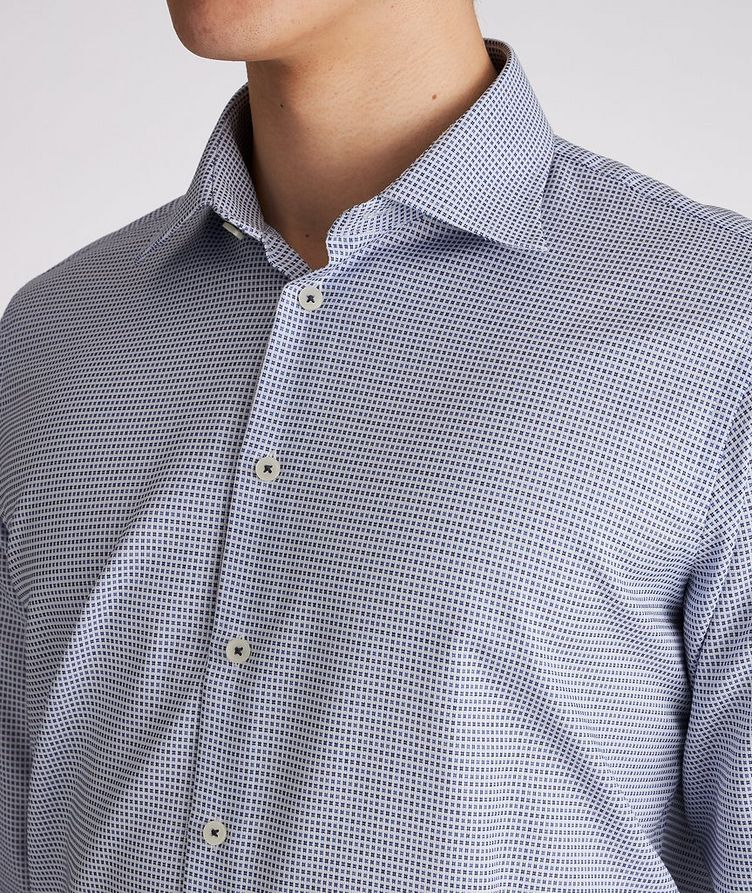 Contemporary-Fit Micro-Checked Cotton Dress Shirt image 3