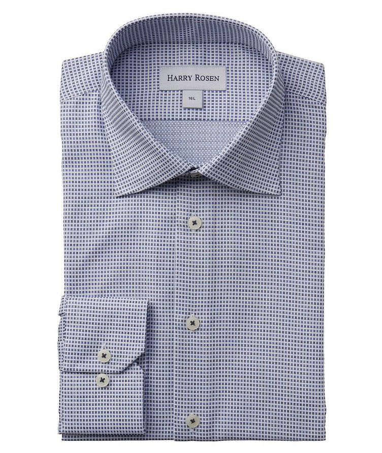 Contemporary-Fit Micro-Checked Cotton Dress Shirt image 0