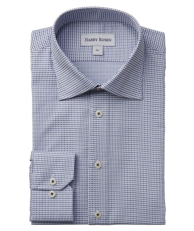 Contemporary-Fit Micro-Checked Cotton Dress Shirt picture 1