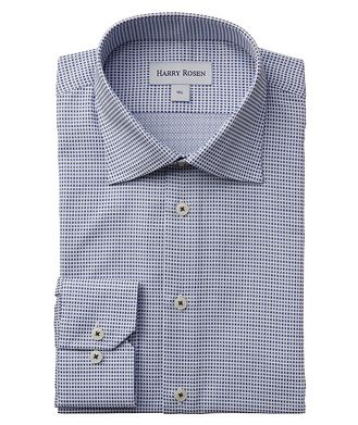 Harry Rosen Contemporary-Fit Micro-Checked Cotton Dress Shirt