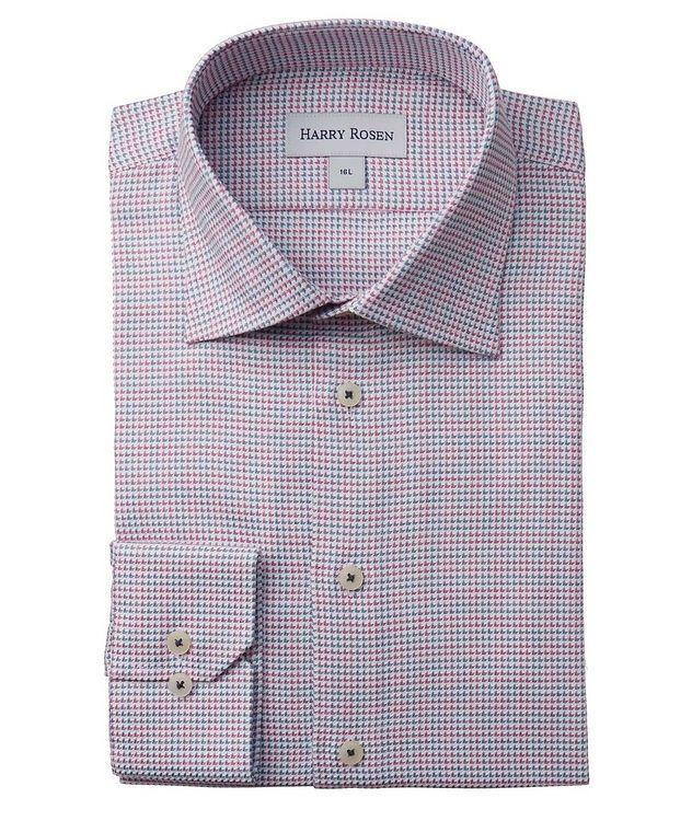Contemporary-Fit Geometric Cotton Dress Shirt picture 1
