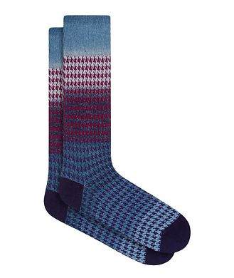 Bugatchi Gradient Houndstooth Cotton Socks