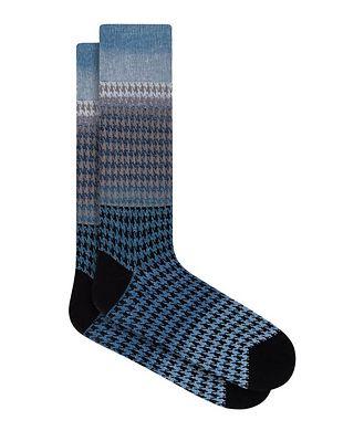 Bugatchi Gradient Houndstooth Cotton Socks