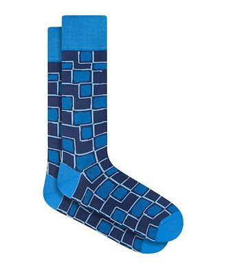 Bugatchi Geometric Print Cotton Socks