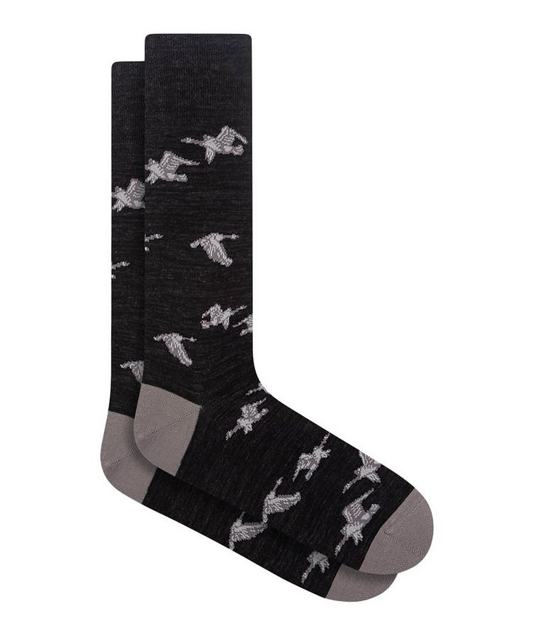 Goose Print Cotton Socks image 0