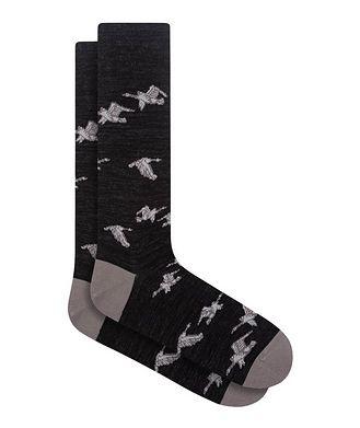 Bugatchi Goose Print Cotton Socks