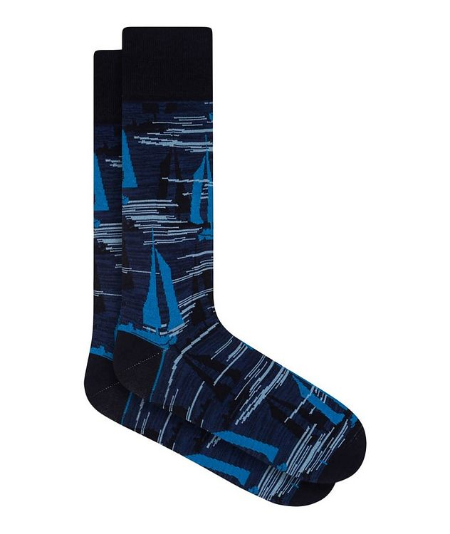 Sailboat Print Cotton Socks picture 1