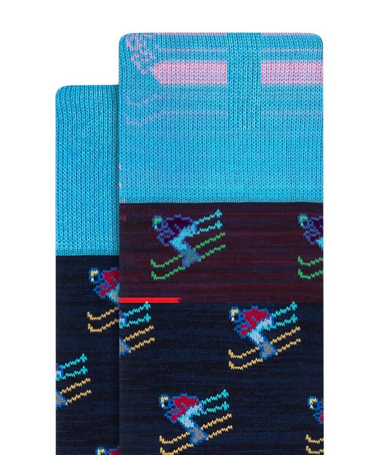 Ski Print Cotton Socks image 1