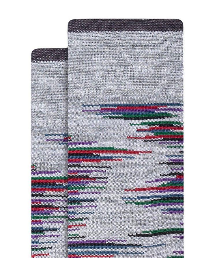 Broken Heather Stripe Cotton Socks image 1