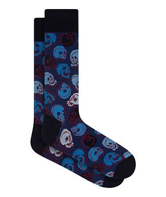 Bugatchi Skull Print Cotton Socks