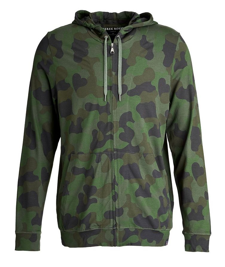 Camouflage-Printed Jersey Zip-Up Hoodie image 0