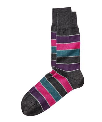 Bugatchi Striped Cotton-Cashmere Socks