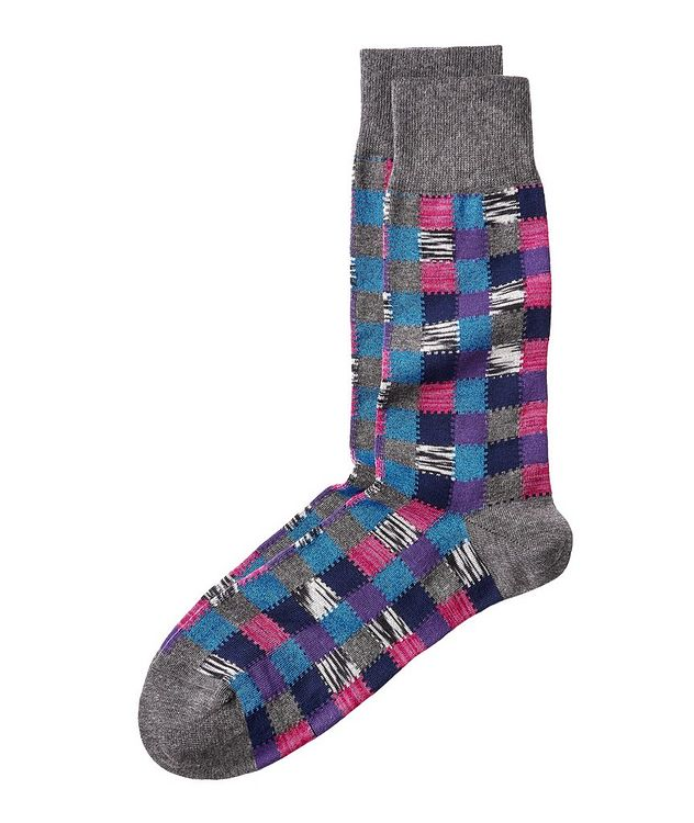 Checkered Stretch-Cotton Socks picture 1