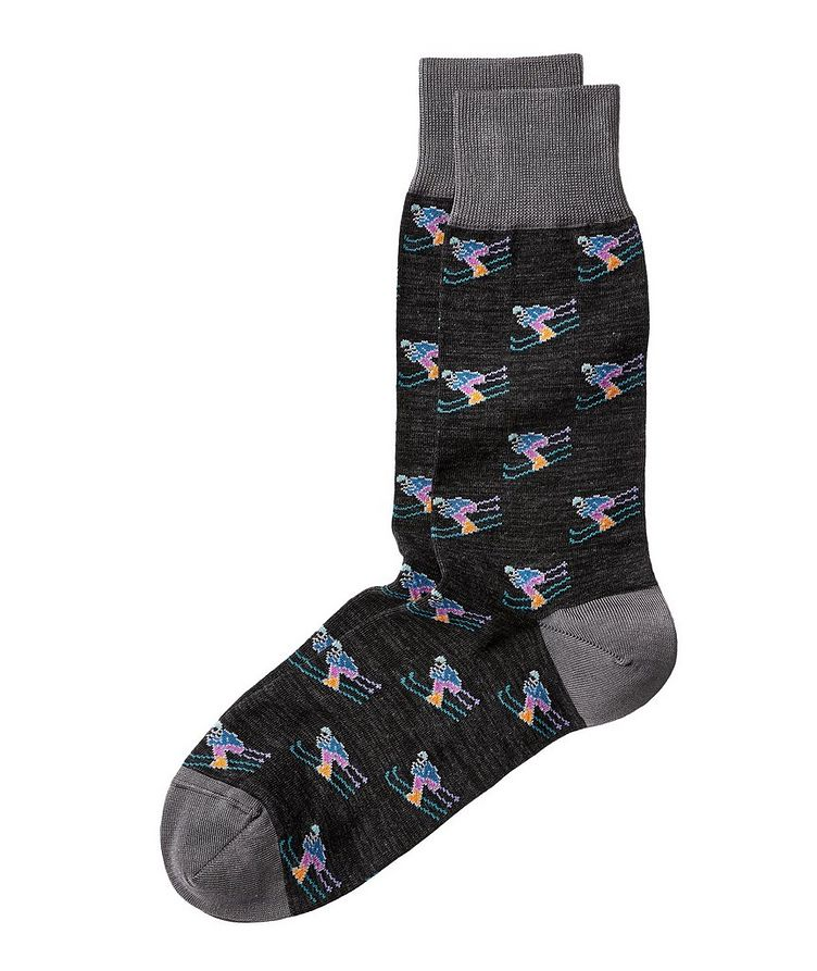 Skiier-Printed Stretch-Cotton Socks image 0