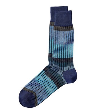 Bugatchi Ribbed Stretch-Cotton Socks