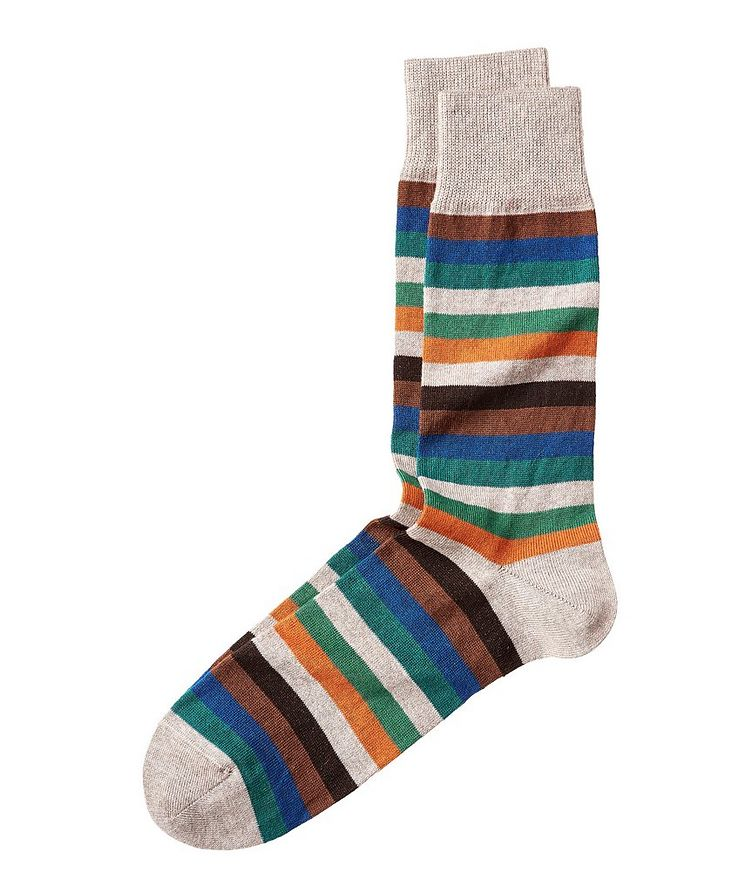 Striped Stretch Cotton-Cashmere Socks image 0