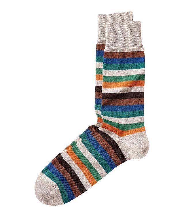 Striped Stretch Cotton-Cashmere Socks picture 1