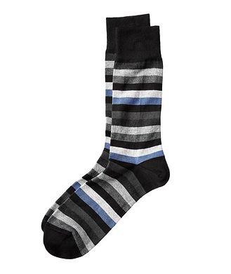 Bugatchi Striped Stretch Cotton-Cashmere Socks