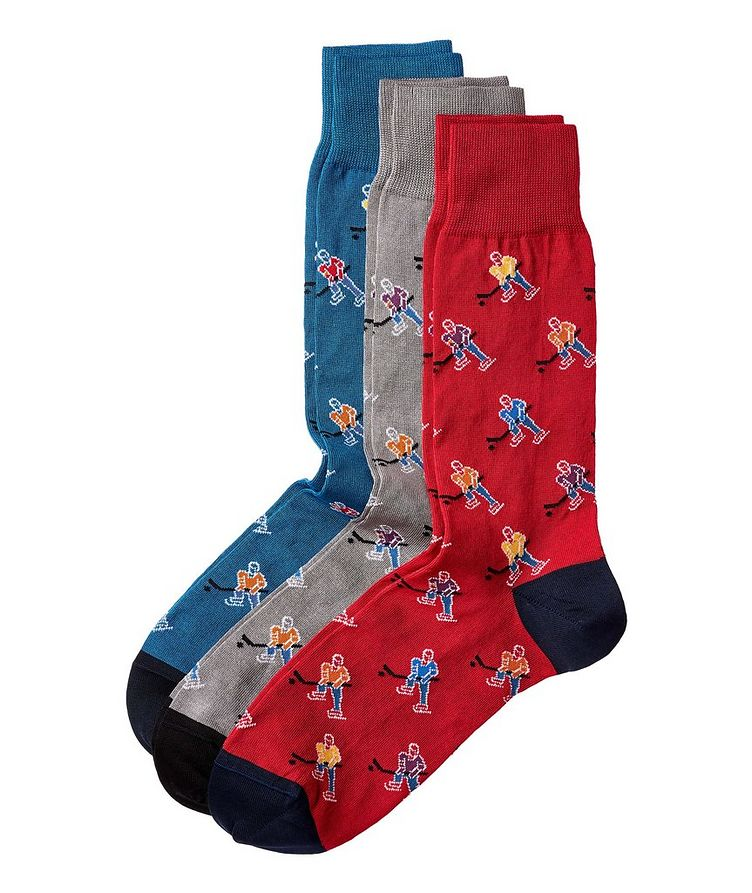 3-Pack Printed Stretch-Cotton Socks image 0