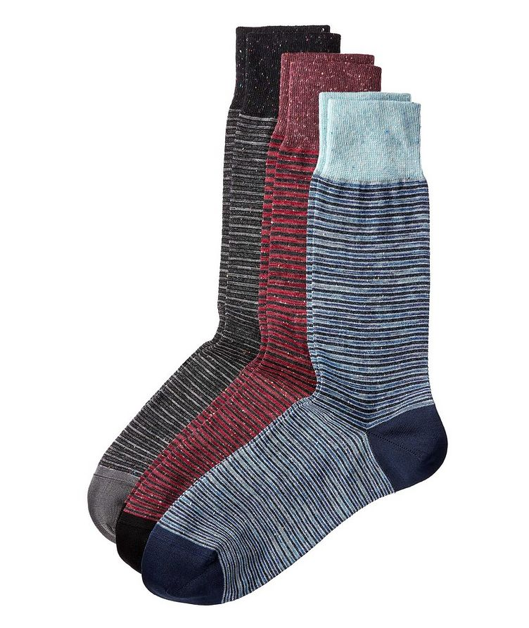 3-Pack Striped Stretch-Cotton Socks image 0