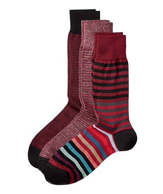 Bugatchi 3-Pack Printed Stretch-Cotton Socks