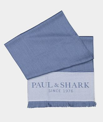 Paul & Shark Logo Print Wool Scarf